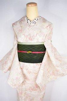 生成り色地に竜田川波に紅葉の古典文様美しい縮風夏着物