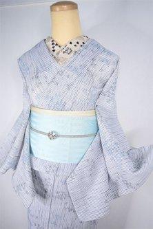 白と紺のステッチストライプに楓葉浮かぶスリーウェイ浴衣