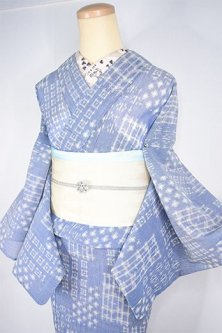 紺と白の格子絣ナチュラルモダンなサマーウール単着物