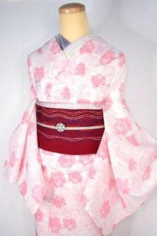 オフホワイトにルージュカラー薔薇の花美しい夏紬風スリーウェイ夏着物
