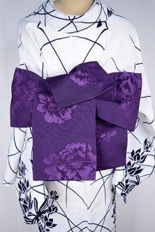 大輪の牡丹あでやかに浮かぶ半幅帯(深紫)