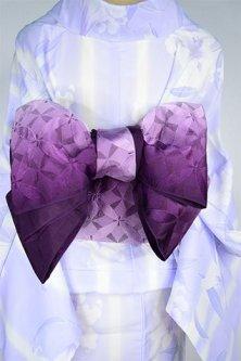 アラビックタイルのような七宝ジオメトリックデザイン美しい半幅帯(紫グラデーション)
