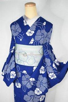 紺瑠璃地に鹿の子椿愛らしい注染レトロ浴衣