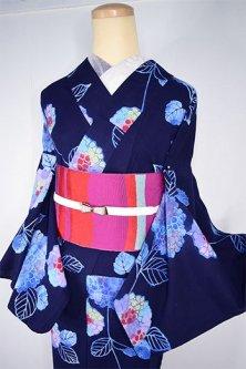 紺色地にみなも色紫陽花の花美しい注染レトロ浴衣