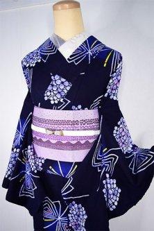 トライアングル蝶々と氷割れ紫陽花美しい注染レトロ浴衣
