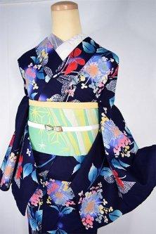 紺色地に額紫陽花と蝶々美しい注染レトロ浴衣