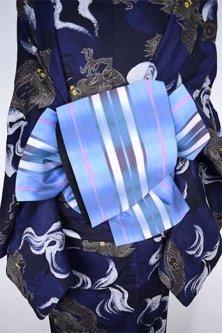 絣ぼかし青に縞模様小粋なリサイクル半幅帯