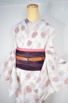 生成り色とブラウンのロマネスクデザインのような装飾模様美しい上布風スリーウェイ夏着物