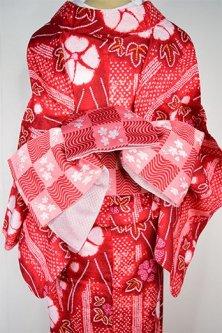 波と桜の市松模様小粋な半幅帯(紅色)