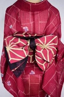 カリグラフィ麻の葉文様モダンな半幅帯(紅と薄黄色)