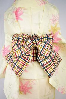エクリュベージュにマルチカラーチェックモダンな綿紬リサイクル半幅帯