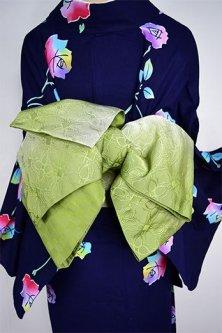 アラビックタイルのような装飾模様美しい化繊半幅帯(ハーバルグリーングラデーション)