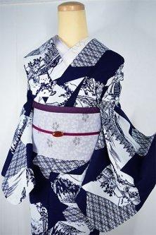 紺地に白の江戸錦絵名所絵図文様小粋な注染レトロ浴衣
