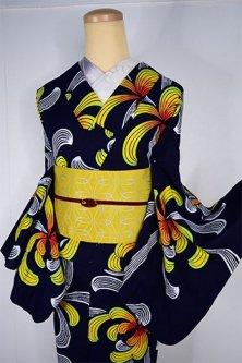 紺色地にアフリカンバティックのような菊花美しい注染レトロ浴衣