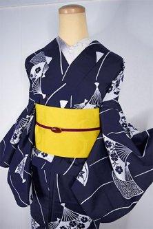 紺色地よろけ縞に花扇美しい注染レトロ浴衣