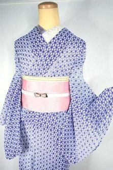 白地に紺桔梗色と薄桃色の麻の葉模様美しい化繊絽の夏着物