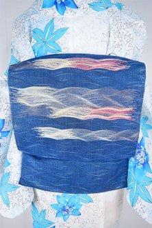 波筬織ディープブルーに寄せては返す波模様涼やかな夏帯