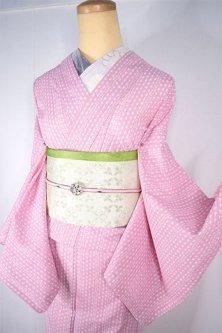 クリーミーピンク絵本のような花ストライプ愛らしい化繊絽の夏着物