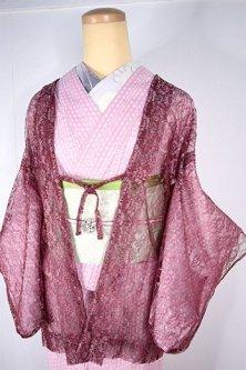 オールドローズのチュールレースロマンチックなビンテージレース薄羽織