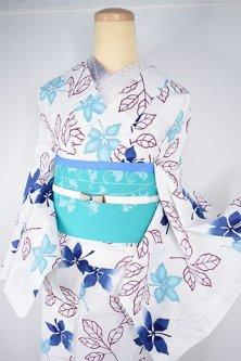 白地に青美しい木の葉模様幻想的な注染レトロ浴衣
