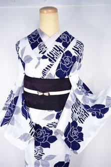 白地に紺の薔薇の花ロマンチックな注染レトロ浴衣