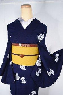 紺地に白の二つ束ね熨斗文様小粋な注染レトロ浴衣