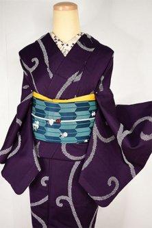紫紺地に鹿の子アラベスクロマンチックなウール単着物