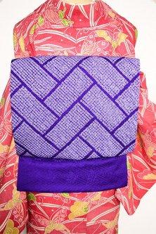 深紫に鹿の子本絞り檜垣文様小粋な正絹名古屋帯
