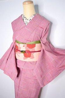ミルクベリーローズにナチュラルネップチェック愛らしいウール単着物