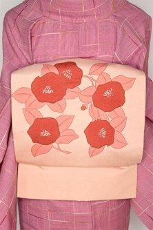 淡珊瑚色地に椿の花愛らしい正絹紬染名古屋帯