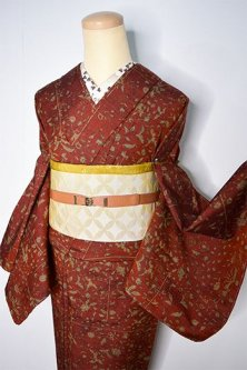 タンジェリンブラウンにアラベスク更紗模様美しいしょうざんウール単着物