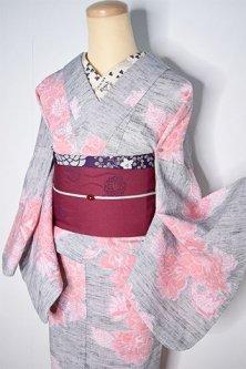 メランジェグレーにピオニーフラワー美しい交織縮単着物