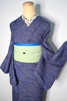 霞ただよう深い青に江戸小紋のような花唐草染め模様美しいウール単着物