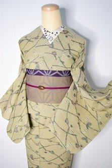 パステルベージュに枝葉模様メルヘンチックな綿単着物