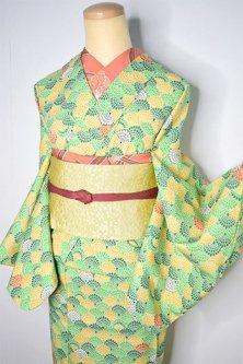 グリーン美しいダリア青海波モダンなウール単着物