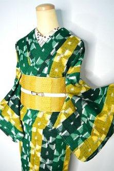 グリーンとイエローの風車ストライプモダンなウール紬単着物