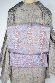 ストームグレーにモリス・ファブリックのようなボタニカルデザイン美しいつくり帯