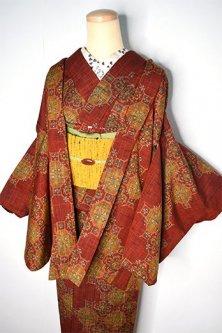 ブリックルージュ雨ストライプに蜀江文様美しいウール紬アンサンブル