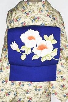 紺瑠璃色地に白の花枝美しい正絹塩瀬染名古屋帯