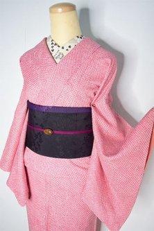 紅色鹿の子総絞りあでやかに美しい正絹本絞り袷着物