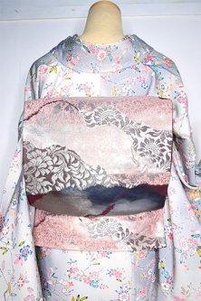 霞のような道長取りアラベスク模様ロマンチックな袋帯
