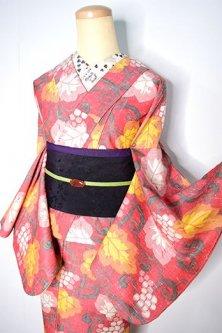 スカーレットルージュに葡萄アラベスクロマンチックなウール紬単着物