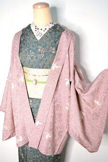 ミスティローズに地紋起こしアラベスク美しいレトロ羽織