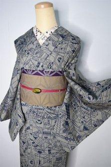 銀鼠と紺の古民家切嵌模様小粋なウール紬単着物