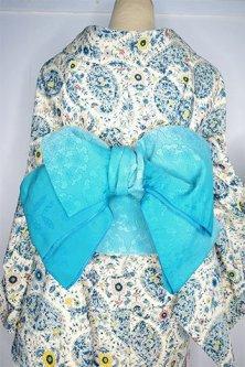 花雪輪と小鳥モチーフモダンな半幅帯(ブルー・アジュール)