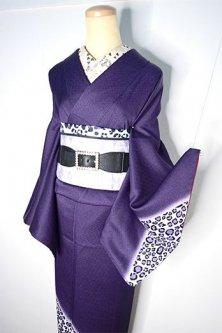 ディープ・パープルにレオパードデザインモダンな正絹袷付下げ着物