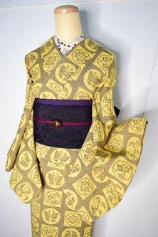 丸と四角の花と蝶々モダンなウール紬単着物