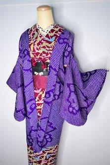 深紫の鹿の子松皮菱光琳椿美しい総絞りアンティーク長羽織