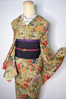 和更紗切嵌染め模様ロマンチックな胴抜き仕立てウール着物