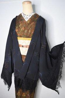 ビンテージリメイク・レースデコレーション黒羽織(夜想曲)